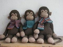 おさるくん(糸と編み図と詰め綿)