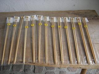 竹製玉付2本棒針セット 3〜15号
